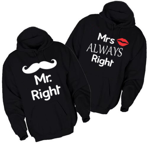 Majice sa kapuljačom za parove Mr Right & Mr Always Right - 2 KOM