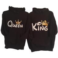 Majice sa kapuljačom za parove King Queen - zlatno bijela - 2 KOM